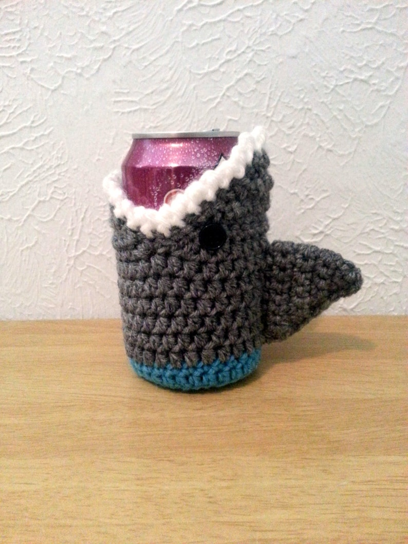 Shark Cup Cozy Crochet Cup Cozie Can Holder Bottle Holder image 0
