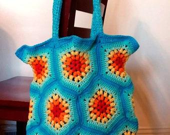 Crochet Tote Bag, Hexagon Market Bag, Rainbow Mesh Bag, Reusable Grocery Bag