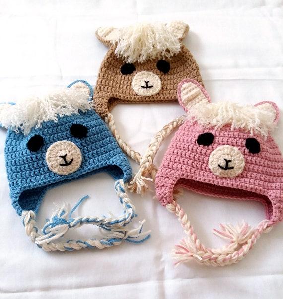 Häkeln Sie Lama-Hut Kind Tier Hut Erwachsenen Tier Hut   Etsy