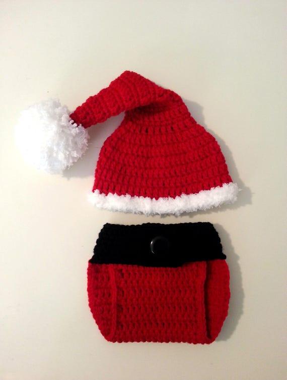 39d7c59db Crochet Santa Outfit Newborn Santa Hat with Adjustable Diaper