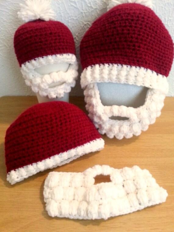 Gehäkelte Mütze mit Bart Baby Erwachsene rote und weiße   Etsy