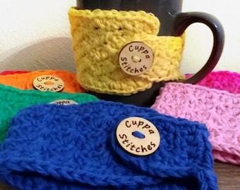 Mug wrap, Crochet Mug Cozy, Handmade Mug Warmer, Reusable Cozy