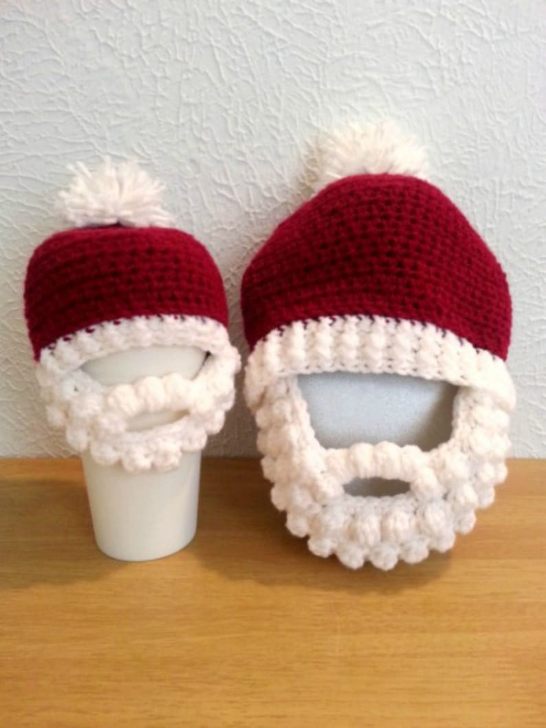 5b9f16636d0 Crochet Santa Hat with Beard Baby to Adult Size Red and