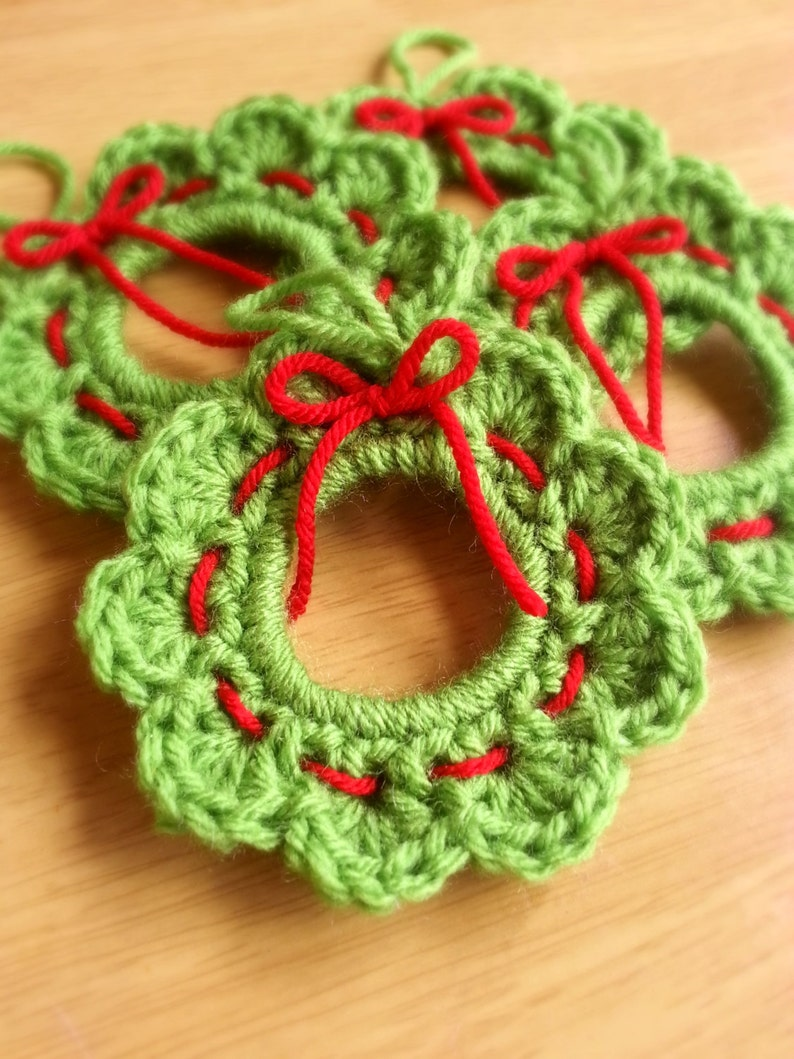 Crochet Wreath Ornament Christmas Wreath Gift Topper Set Of Etsy