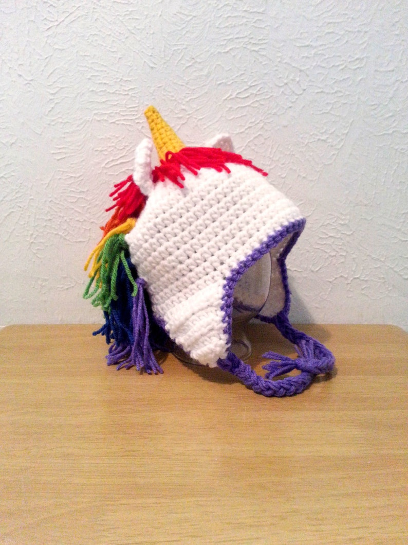 3dbd75a5b81 Crochet Unicorn Hat Rainbow Hat Unicorn Beanie Hat for