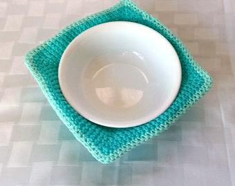 Crochet Bowl Cozy, 2 Tone Cotton Soup Bowl or Ice Cream Cozy, Blue Bowl Holder