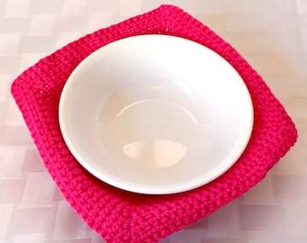Cotton Bowl Cozy, Crochet Pink Bowl Holder, Cotton