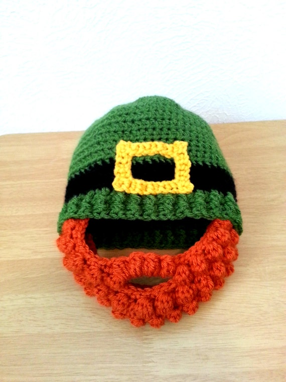 f86823c37ca Leprechaun Beard Hat Baby to Adult Size Crochet Green St.