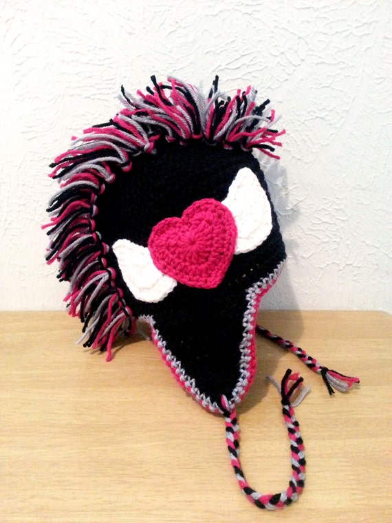Mädchen Punk Rock Mohawk Mütze schwarz häkeln Ohrklappe Hut   Etsy