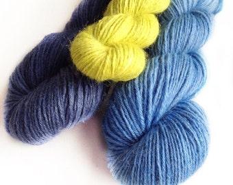 Stripey Socks - Kit of three colours handdyed fingering weight sock yarn wool nylon
