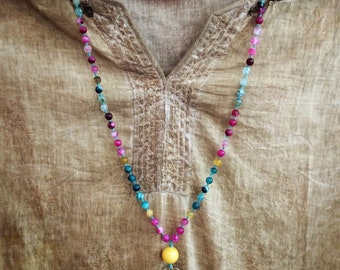 108 mala beads hand knotted necklace, agate stone beads on waxed linen thread