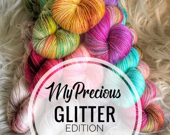 MyPrecious Glitter edition - Handdyed fingering weight yarn wool nylon stellina - 100g 400m