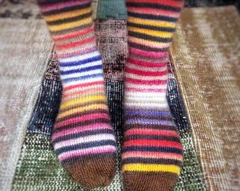 Happy Stripes - hand knitted socks - superwash wool - size women M, eur 38-39