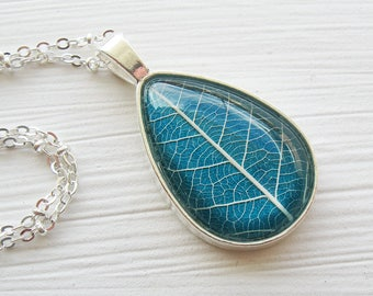 Real Leaf Necklace - Teal Leaf Teardrop Necklace
