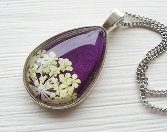 Real Pressed Flower Necklace - Violet Queen Anne's Lace Botanical Teardrop Necklace