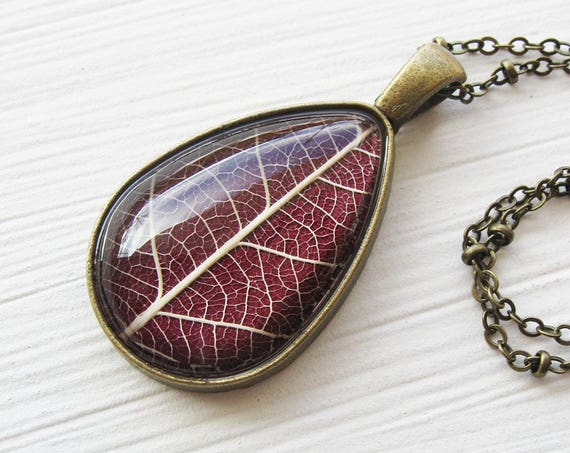 Real Leaf Necklace - Maroon Botanical Teardrop Necklace - Available in Silver or Antique Brass