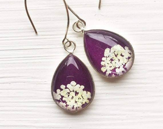 Real Pressed Flower Earrings - Tiny Teardrop Real Queen Annes Lace Earrings - White and Violet