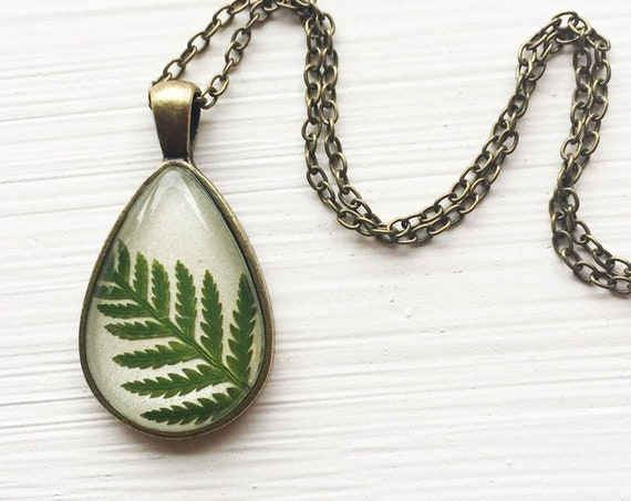 Real Fern Botanical Teardrop Necklace - Green and White