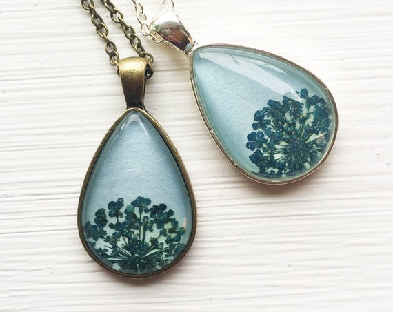 Real Pressed Flower Necklace - Blue Queen Anne's Lace Botanical Teardrop Necklace