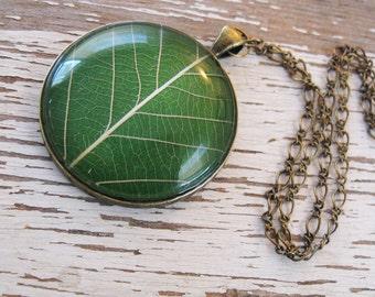 Grass Green Leaf Necklace
