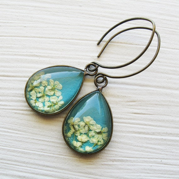 Real Pressed Flower Earrings - Tiny Teardrop Real Queen Annes Lace Earrings - Turquoise