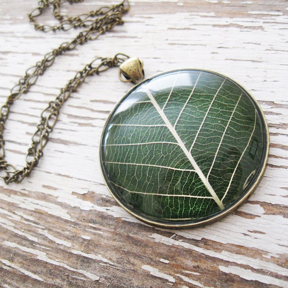 Real Leaf Necklace - Hunter Green Leaf Necklace