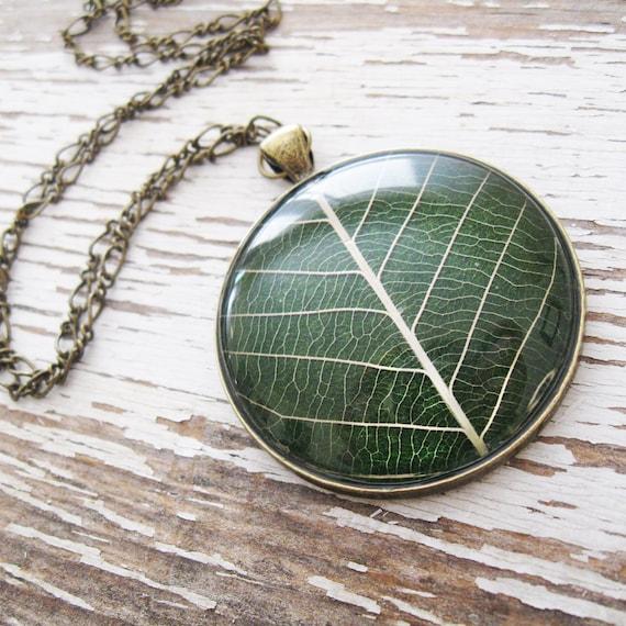 Real Leaf Necklace - Hunter Green Leaf Necklace