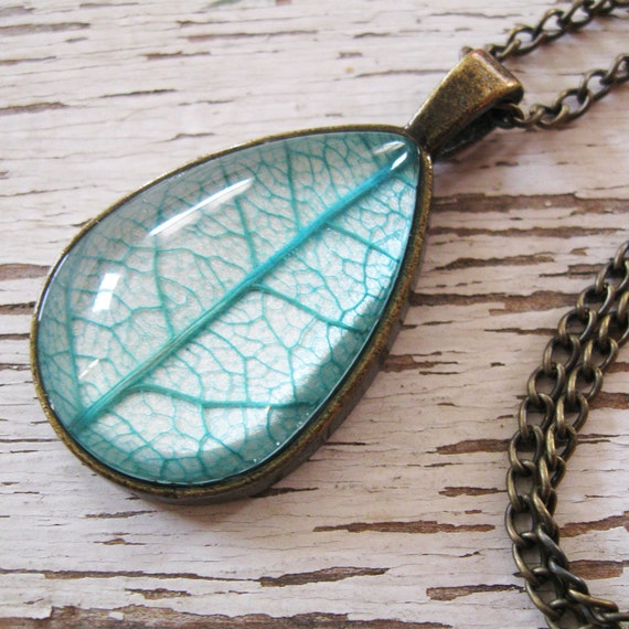 Real Leaf Necklace - Teal and Antique Brass Botanical Teardrop Necklace