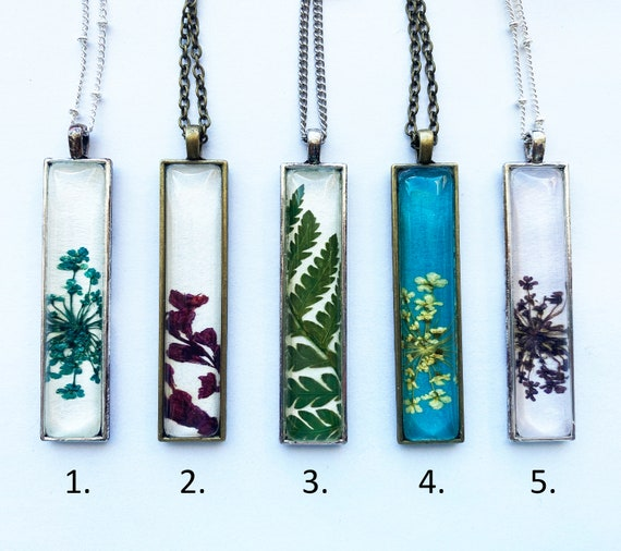 Ready to Ship Rectangle Botanical Necklaces