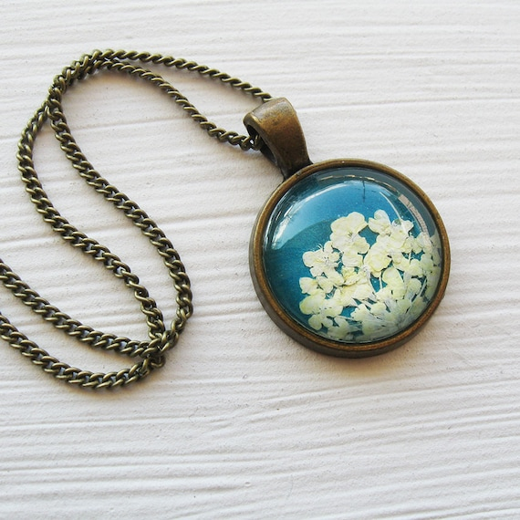 Real Pressed Flower Necklace - White and Turquoise Pressed Flower Necklace - Silver and Antique Brass