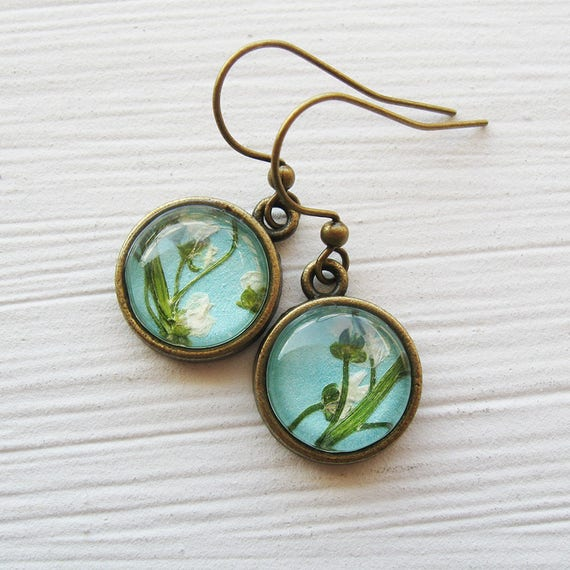 Real Pressed Flower Earrings - Tiny Round Pressed Flower Earrings in Turquoise - Silver and Antique Brass
