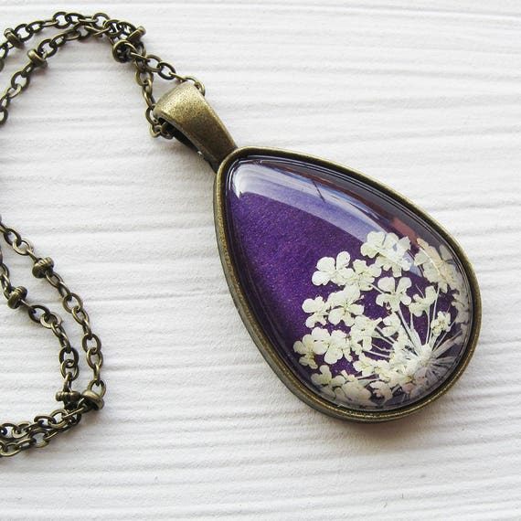 Mother's Day Gift - Real Pressed Flower Jewelry - Purple Pressed Flower Teardrop Necklace - Silver or Antique Brass