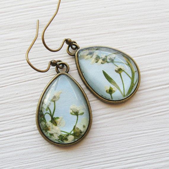Pressed Flower Earrings - Alyssum and Baby Blue Teardrop Earrings