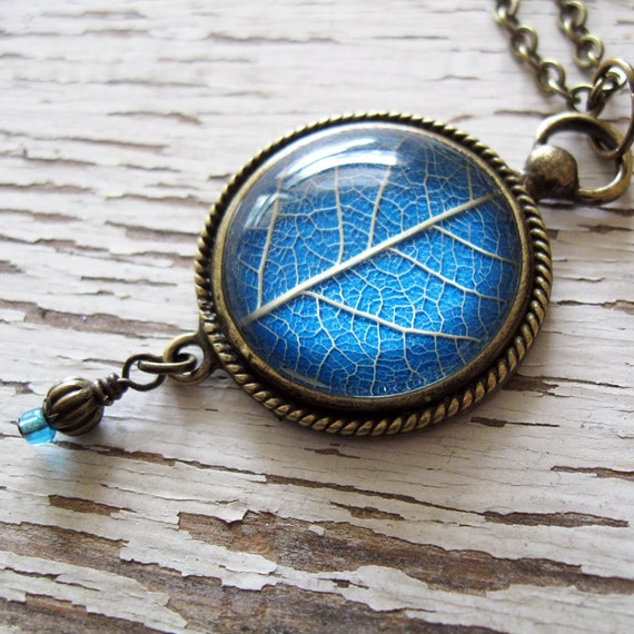 Real Leaf Necklace - Sky Blue Vintage Inspired with Blue Bead Drop