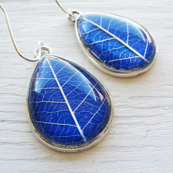Real Botanical Earrings - Cobalt Blue and Silver Teardrop Pressed Leaf Earrings