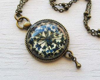 Real Pressed Flower Jewelry - Blue Queen Annes Lace Vintage Inspired Necklace