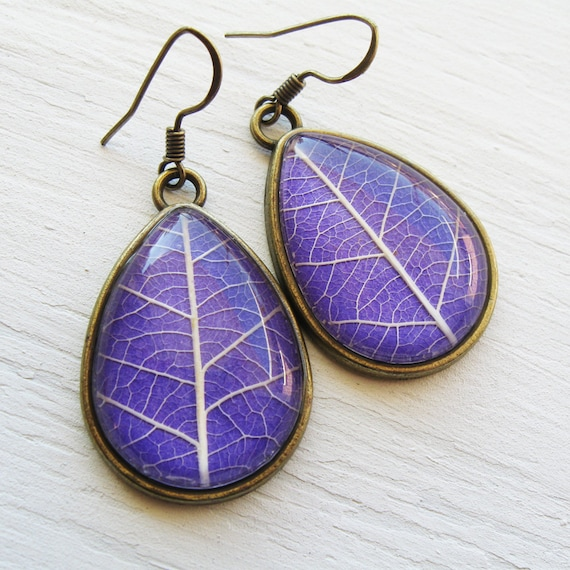 Real Leaf Earrings - Lavender Teardrop Pressed Leaf Earrings - Silver and Antique Brass