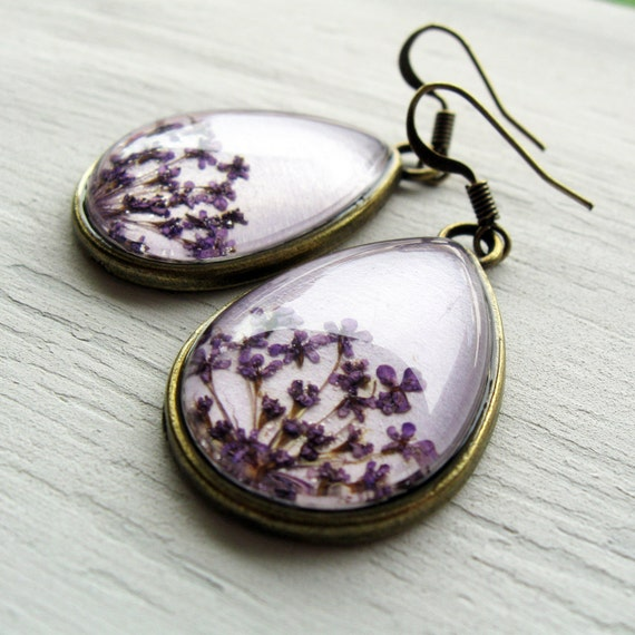 Real Botanical Earrings - Purple Antique Brass Teardrop Pressed Flower Earrings