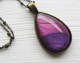 Real Pressed Leaf Necklace - Pink and Purple Leaf Teardrop Necklace