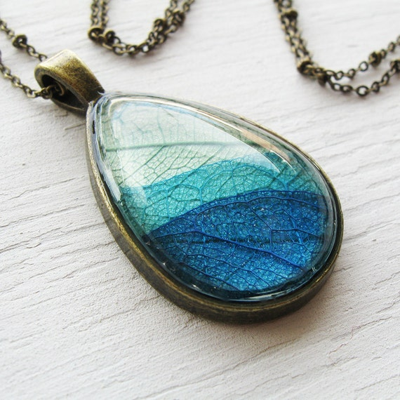 Real Leaf Necklace - Green and Blue Teardrop Pressed Leaf Necklace - Silver or Antique Brass