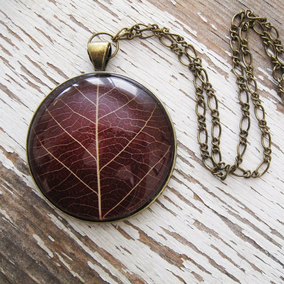 Deep Red Leaf Necklace
