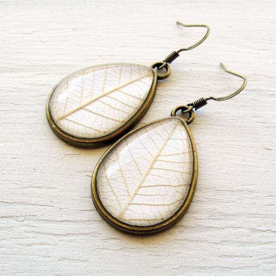 Real Botanical Earrings - Winter White Antique Brass Teardrop Pressed Leaf Earrings