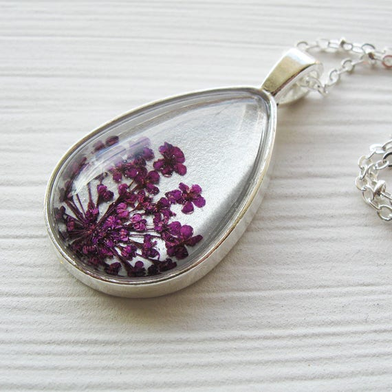 Mother's Day Gift - Real Pressed Flower Necklace - Silver and Violet Queen Anne's Lace Botanical Teardrop Necklace