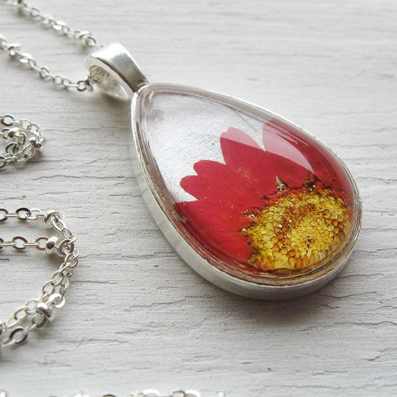 Real Pressed Flower Necklace - Pink and Silver Daisy Botanical Teardrop Necklace