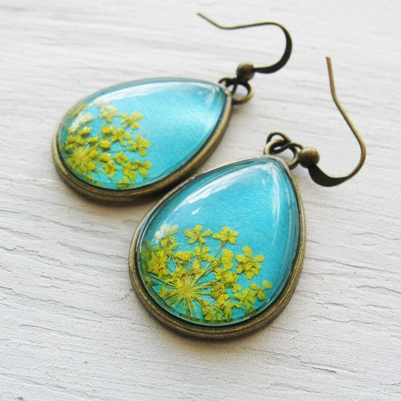 Real Botanical Earrings - Teal and Yellow Antique Brass Teardrop Pressed Flower Earrings