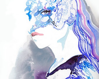 Lace Mask Print, Masquerade Print, Aquarelle Fashion illustration, Fashion Print, Watercolor Fashion Illustration, Maison Michel, Cate Parr