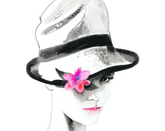 Hat Drawing Print, Watercolour Fashion Print, Fashion Illustration cloche hat with pinkflower, Girl in a hat print, Cate Parr, Fashion Hat