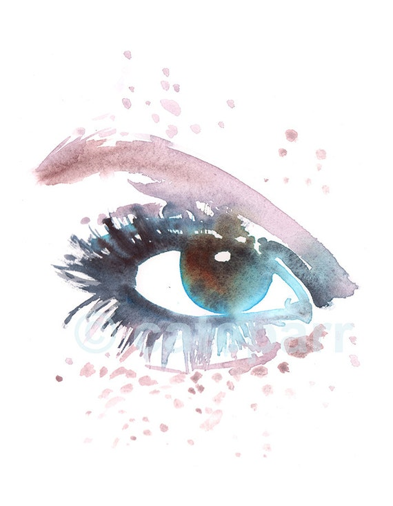 Blue Eye Print Eye Makeup Illustration Pink Freckles Print Etsy