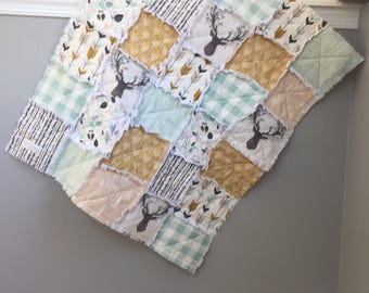 Baby Rag Quilt- Fawn- Woodland Theme Nursery- Baby Blanket- Antlers and Deer