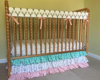 Woodland Baby Bedding- 3 Tiered Ruffled Crib Skirt- Dust Ruffle